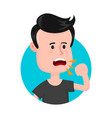young sick man cough sore throat vector image