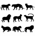 Big Wild Cats Silhouettes detailed vector image