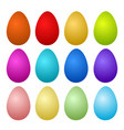 12 colorful painted easter eggs on white stock vector image vector image