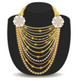 a gold feminine necklace made beads and chains vector image vector image