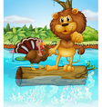 A turkey and a lion above a floating trunk vector image vector image