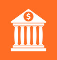 Bank building icon with dollar sign in flat style