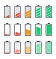 batteries full charge energy indicators charge vector image