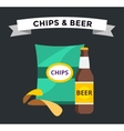 beer snacks chips pack isolated vector image vector image