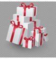 Big Pile Of White Gift Boxes With Ribbon vector image vector image