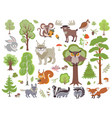 big set wild forest animals birds and trees vector image vector image
