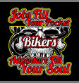 bikers quote with skull hand drawing vector image vector image