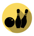 bowling sign flat black icon vector image vector image