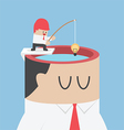 Businessman get idea from human head by fishing vector image vector image