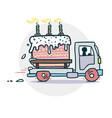 cake truck delivery sticker vector image