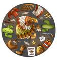 cartoon character american eagle set of classic vector image