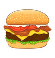 cheese burger and bacon hand drawing vector image