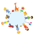Children and toys in the circle vector image vector image