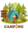 children near bonfire in summer camp vector image vector image