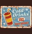 cold drinks rusty metal plate beverage vector image vector image