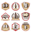 colorful vintage beer emblems set vector image vector image