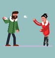 couple plaing snowballs vector image