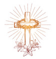 crown thorns wooden cross and floral blooming vector image vector image