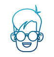 cute boy with glasses cartoon vector image vector image