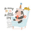 cute panda sitting in armchair and reading book vector image vector image