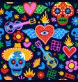 day dead mexican cartoon background pattern vector image