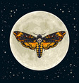deaths head hawkmoth on the full moon background vector image vector image