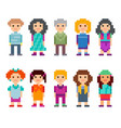 different pixel 8-bit characters vector image vector image