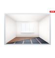 empty room with ir heating floor and window vector image vector image