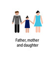 father mother and daughter icon can be used for vector image vector image