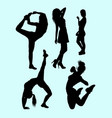 fitness attractive girl sport silhouette vector image vector image
