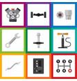 flat workshop set of suspension motor coupler vector image vector image