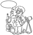 Funny scientist or inventor With balloon for text vector image vector image