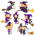 halloween young witches collection set vector image vector image