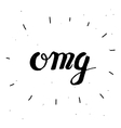 Hand-drawn word omg in black color vector image