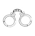 handcuffs police tool security arrest vector image vector image