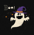 happy halloween card with ghost cartoon vector image