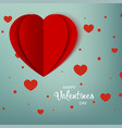 happy valentines day greeting card red paper vector image vector image