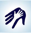 helping hand in white and blue concept of help vector image vector image