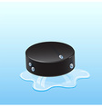 Hockey puck on ice with drops vector image vector image