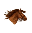 Horse in bridle running mustang head vector image vector image