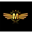 letter m winged crests logo alphabet logotype vector image