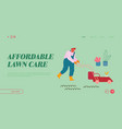 man mow lawn in garden website landing page vector image