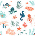 marine life flat seamless pattern background vector image vector image