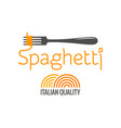 pasta on fork italian spaghetti logo on white vector image