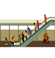 people rise on the escalator vector image