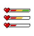 pixel art 8 bit red yellow green health heart bar vector image vector image