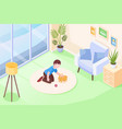 rabbit pet girl kid playing at home isometric vector image vector image