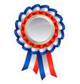 red white blue ribbon award silver medal center vector image