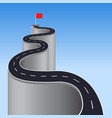 road to success concept winding to red flag vector image vector image