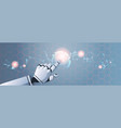 robot hand touching abstract virtual user vector image